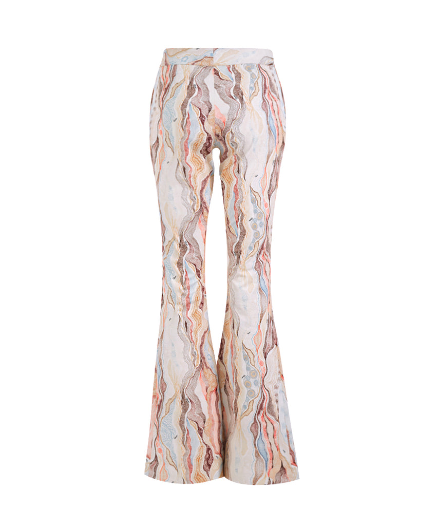 Marble Cream Flare Pants