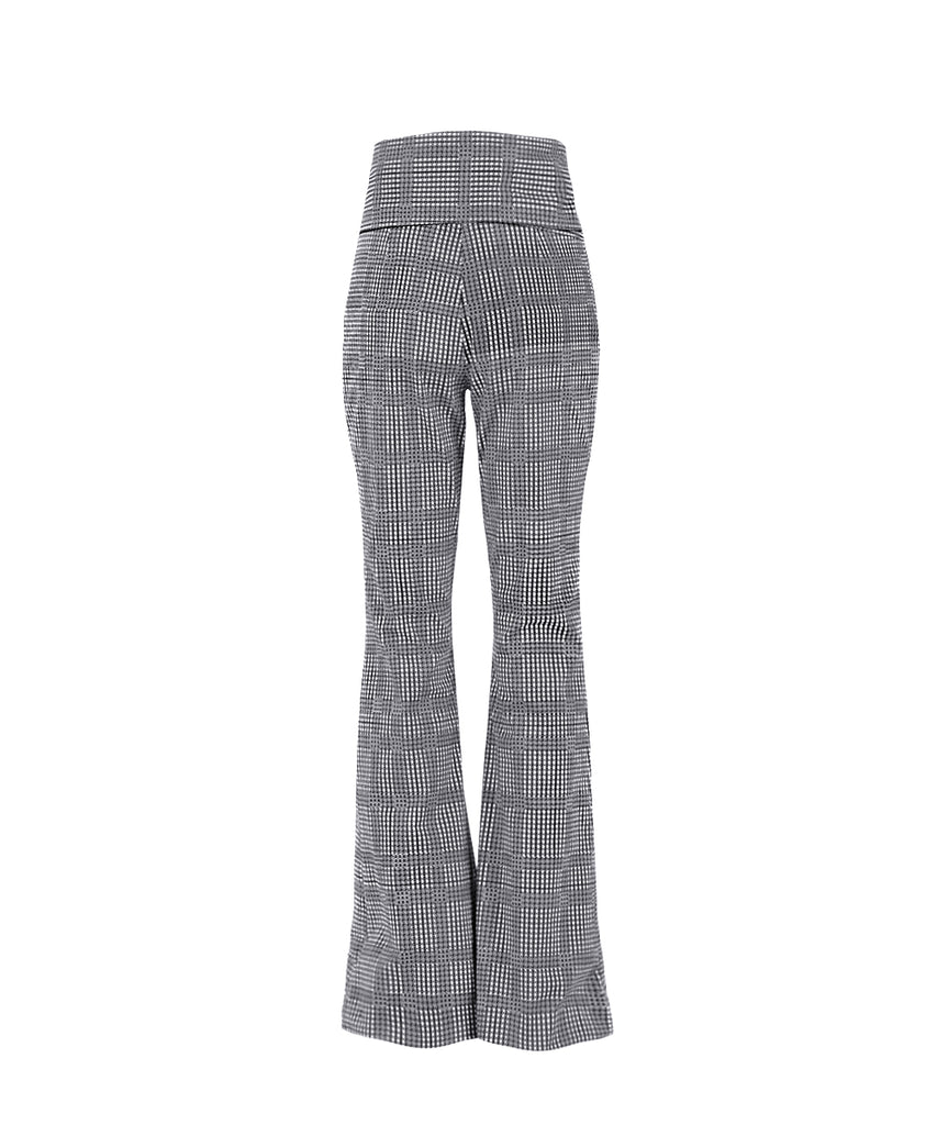 Houndstood Checked bow-tied flared legged trouser