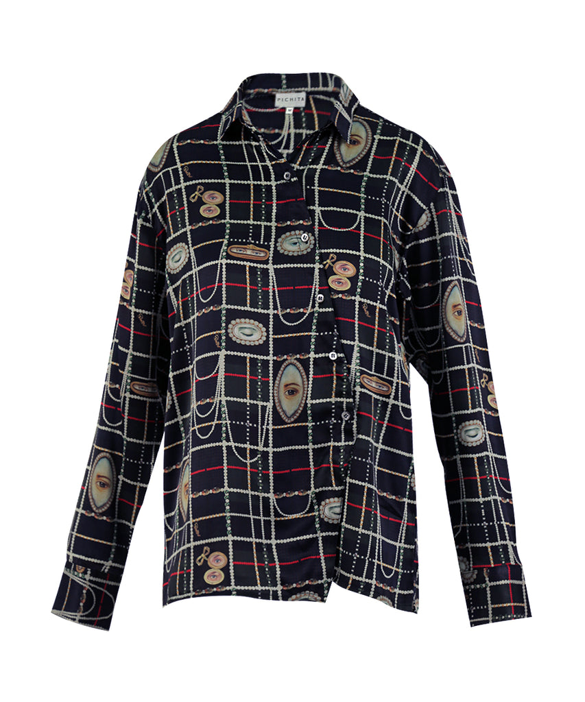 Green Lover's Eye LONG Sleeves BUTTON SHIRT