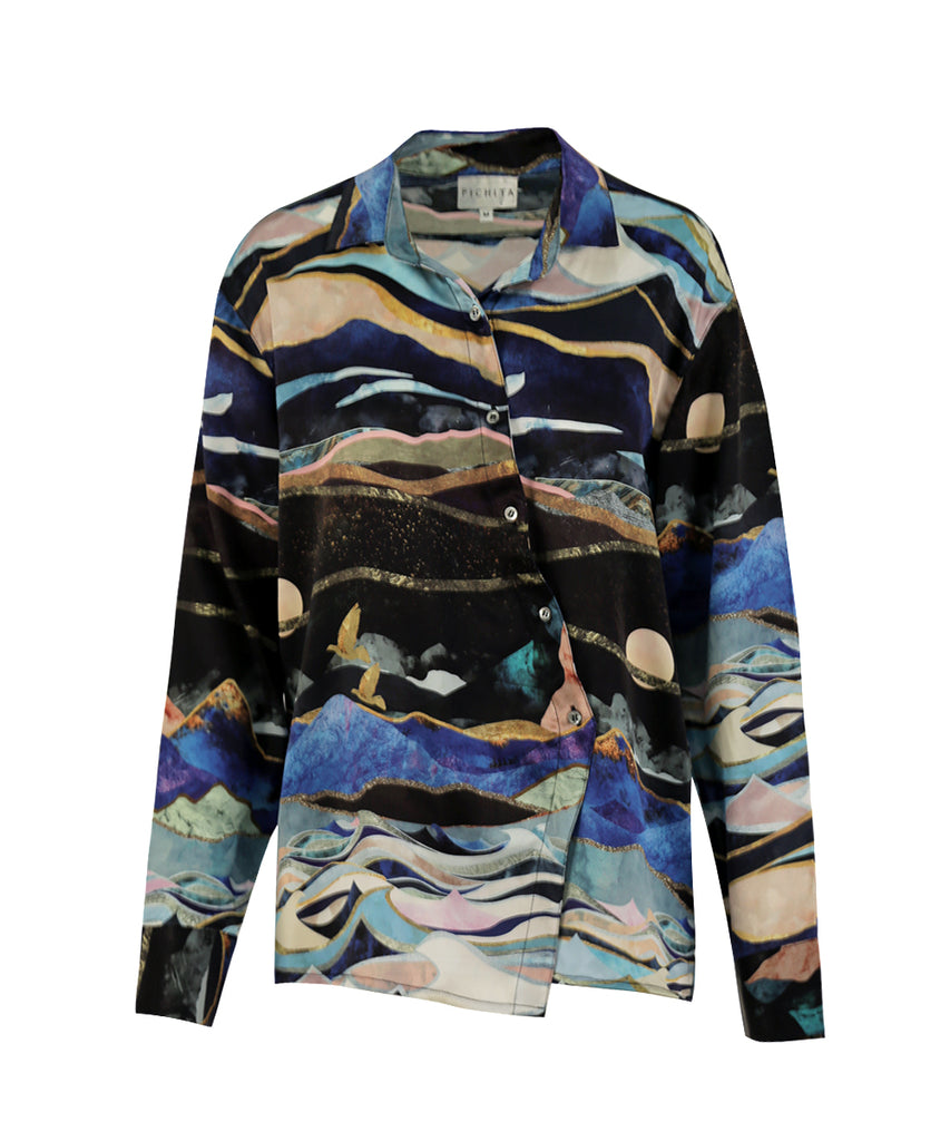 TWO WORLDS PRINTED SILK SHIRT