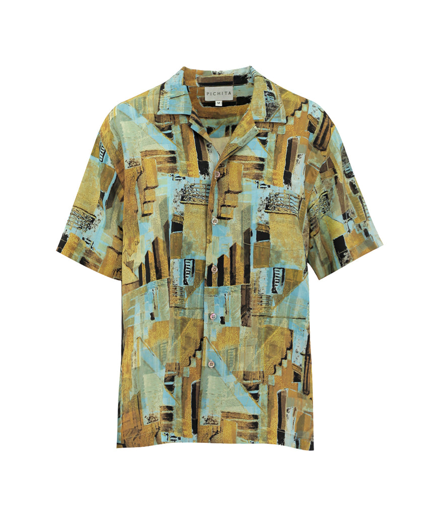 HALCYON PRINTED BUTTON UP SILK SHIRT