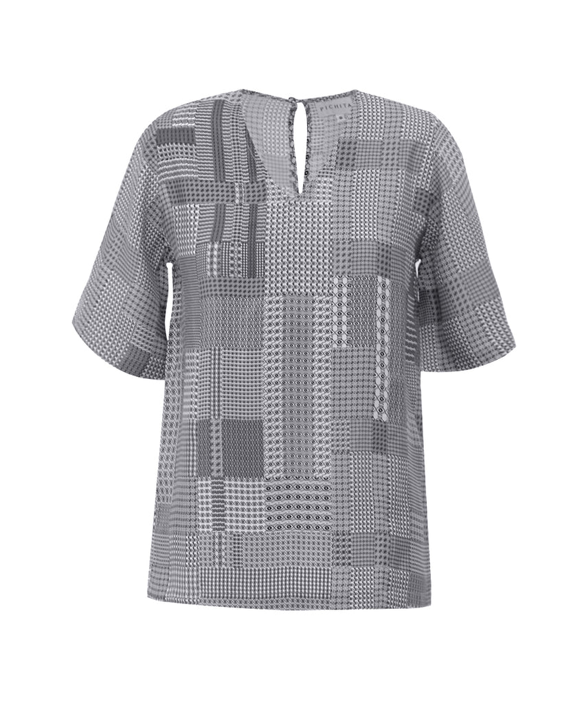 Houndstood Patch Checked Yoke sleeves V-NECK shirt