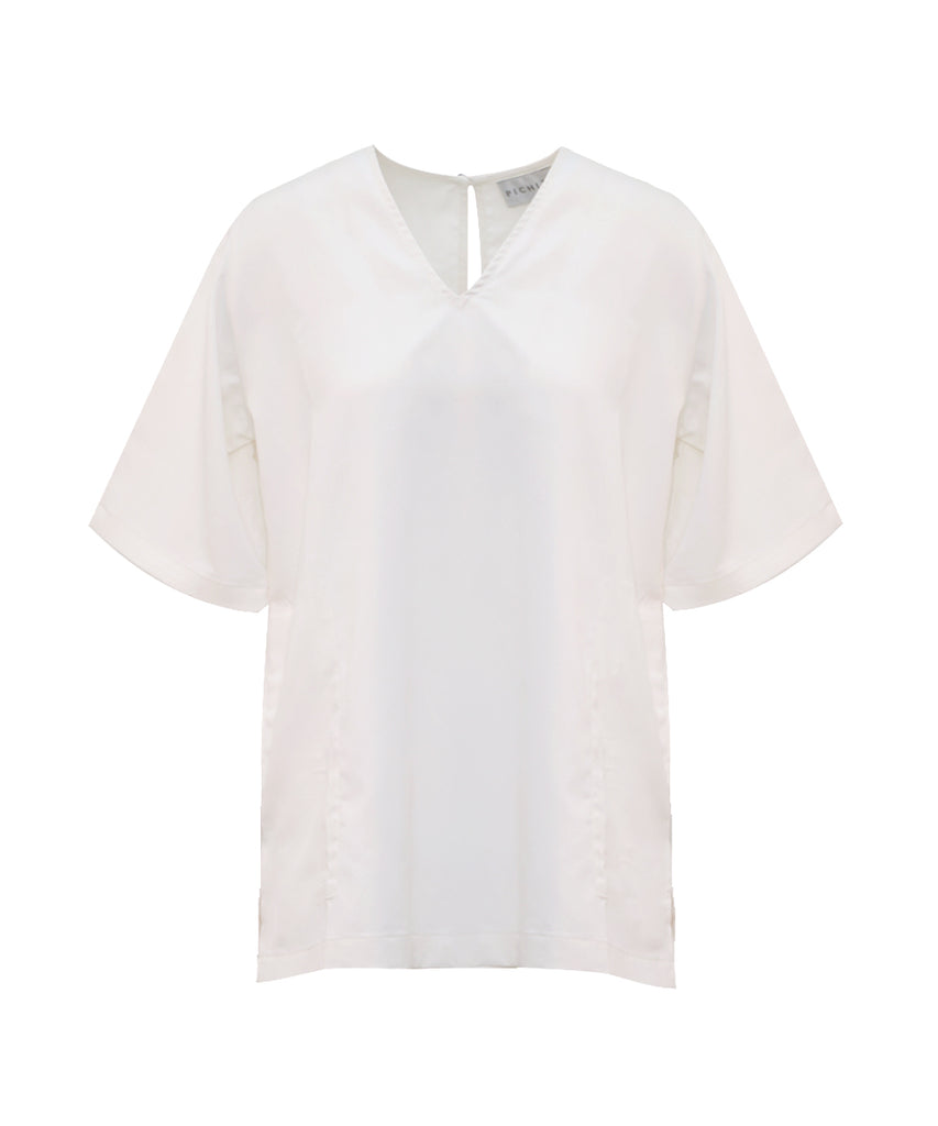 White Yoke sleeves v-neck shirt