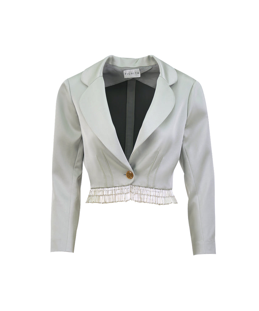 EMBELILISHED MINT SILK SATIN CROPPED JACKET
