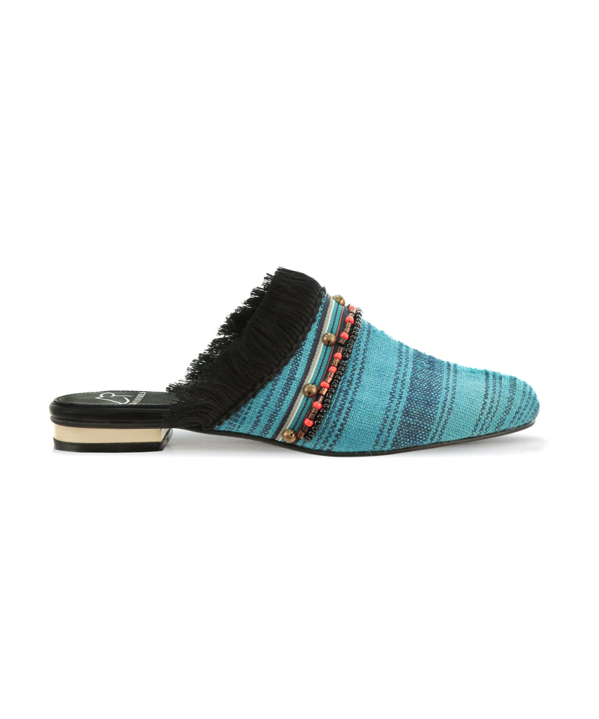 Metal embellished Celest blue with stripe brocade sandals