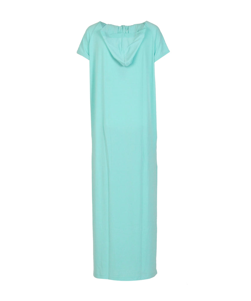 Mint Hooded V-neck patch-pocket crepe dresses