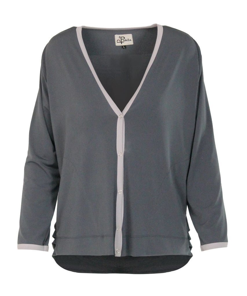 Stretch colour-rimmed embellished cardigans