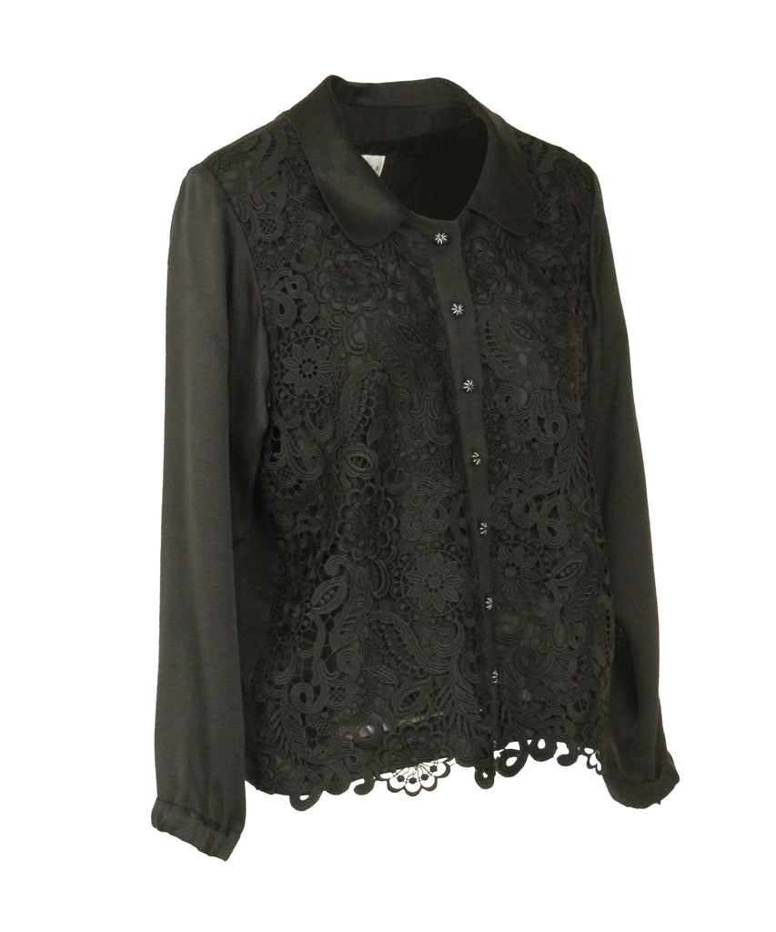 Lace-panalled Thai silk long sleeves Shirt