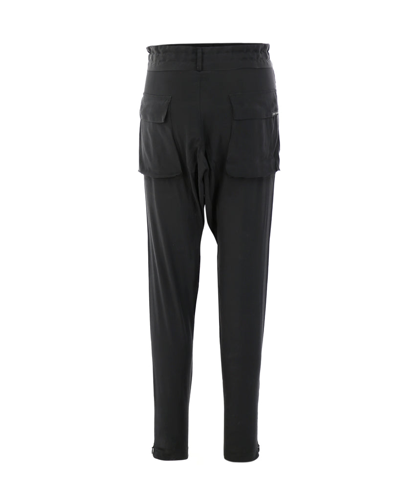 Patch-pocket drawstring tapered silk trousers