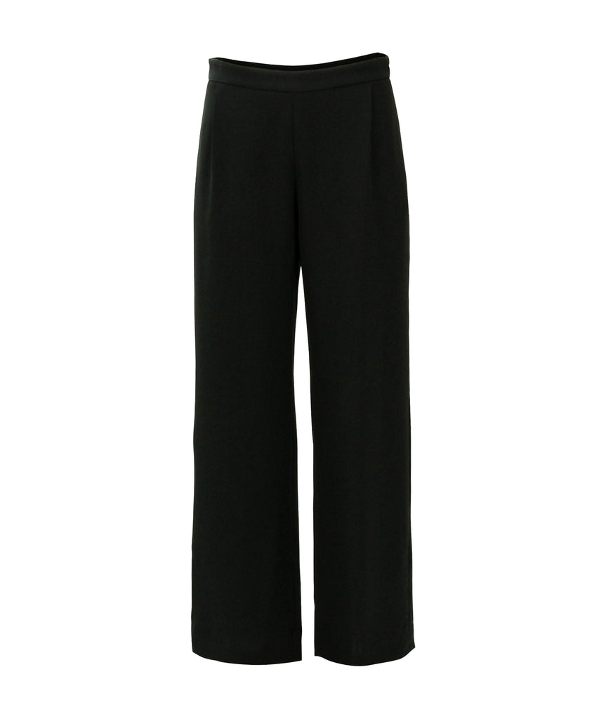 Wide leg crepe jersey trousers