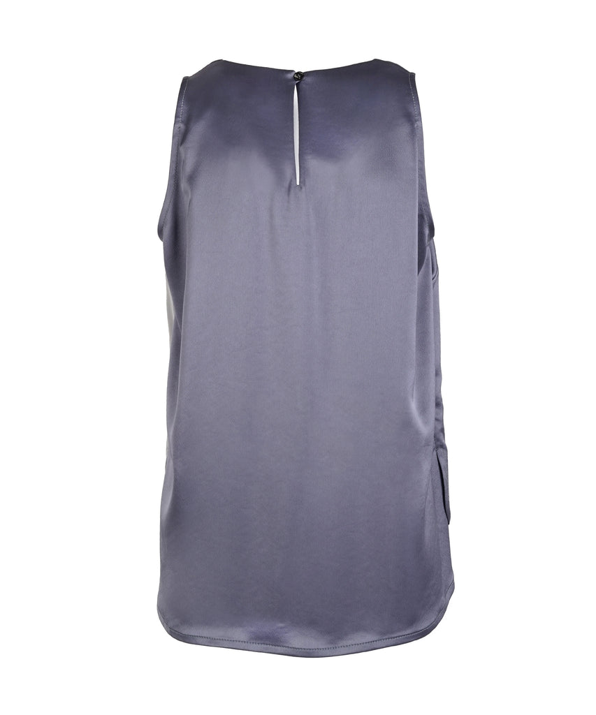 Tri-shade V-neck silk sleeveless Top