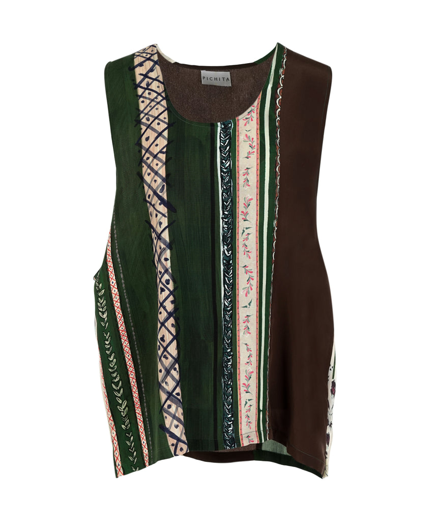 Printed Silk Tank Top
