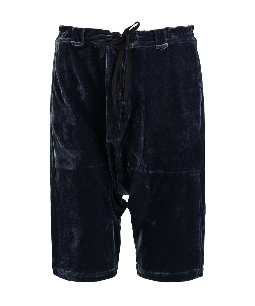Black Velvet Dropped Crotch Short
