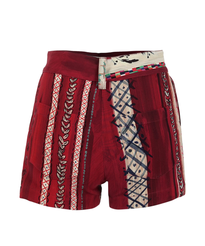 Red Matisse Printed Silk Shorts