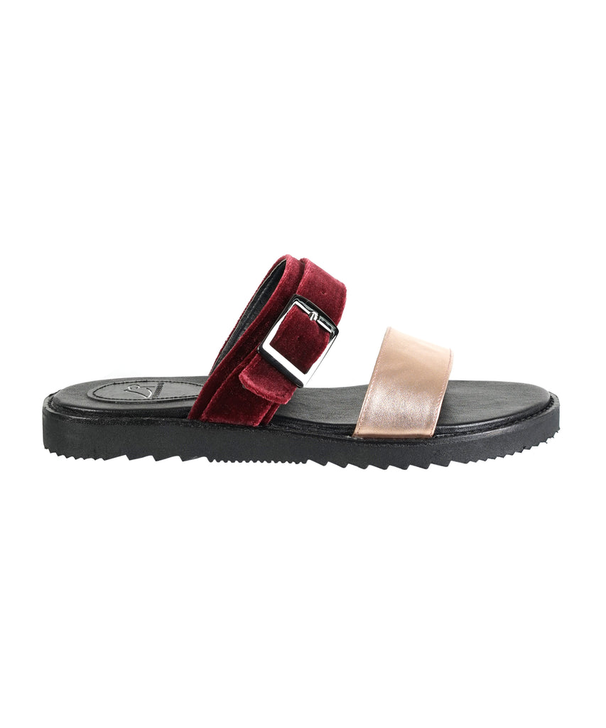 Red velvet metallic strap slipper