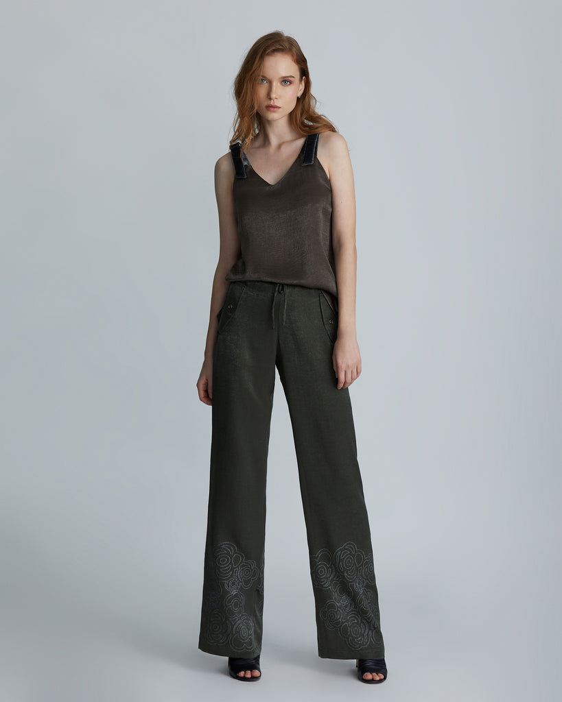 Army green straight pants