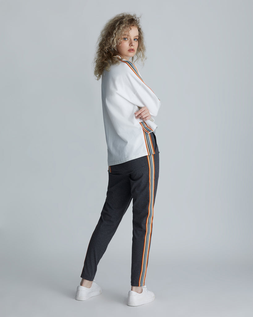Slim-fit side-striped track pants