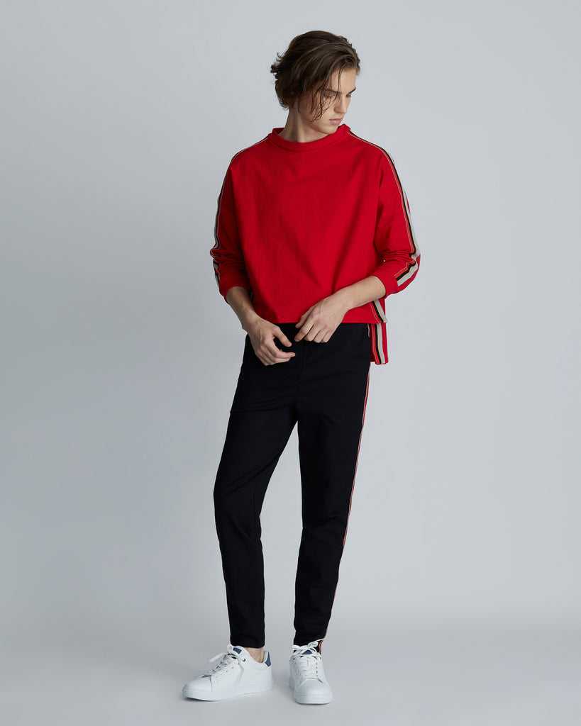 Red roll collar sweater with striped side