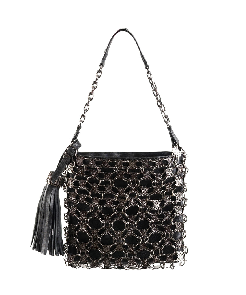 Metal Jardin-loop-woven leather-chain square handbag