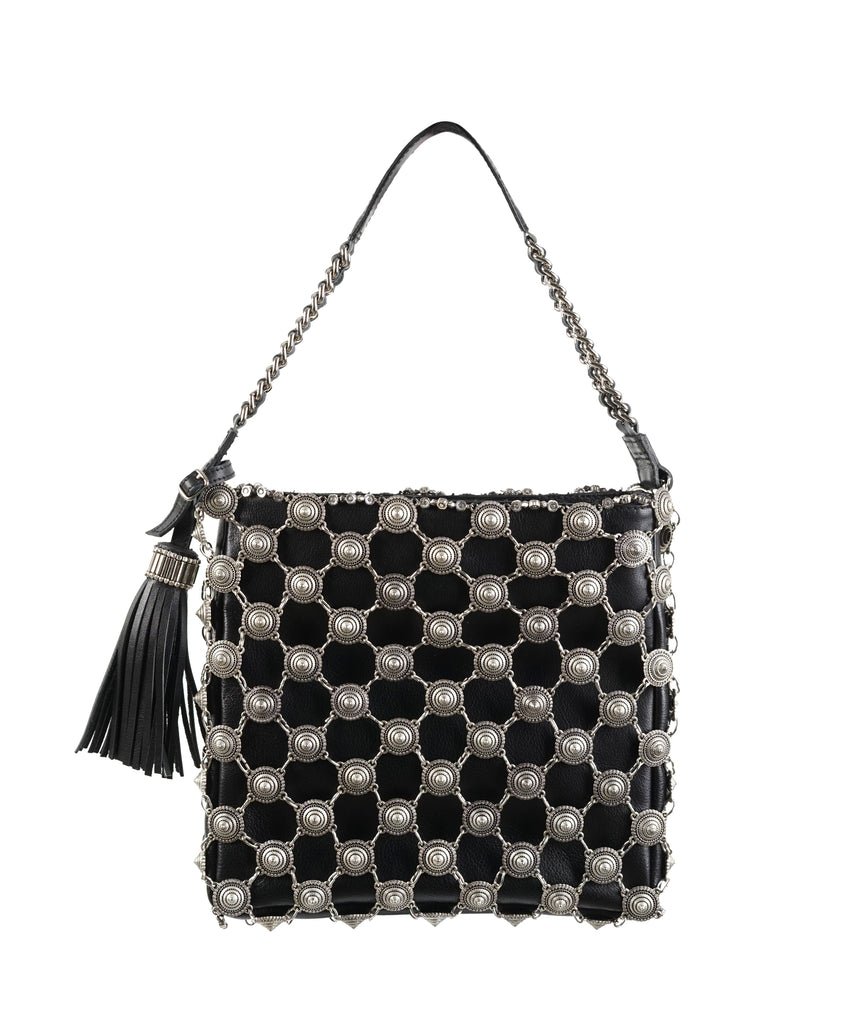 Thai Metal Pointillism Leather-chain square handbag