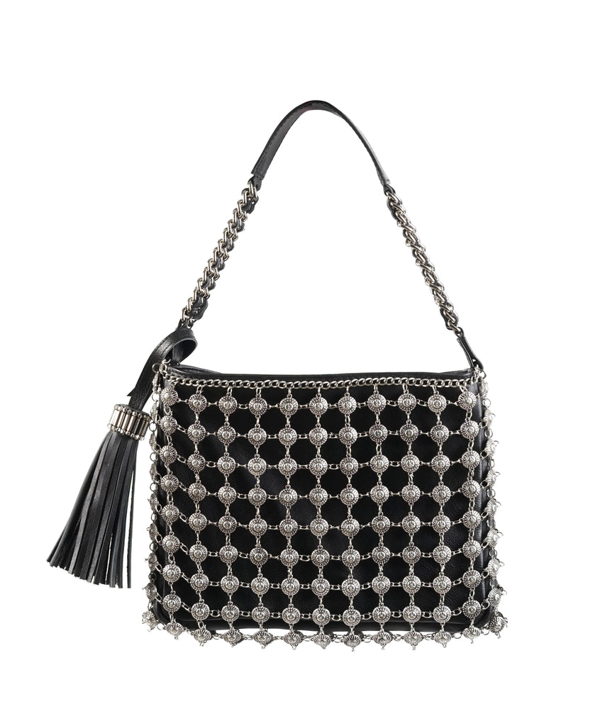 Metal Pointillism Leather-chained handbag