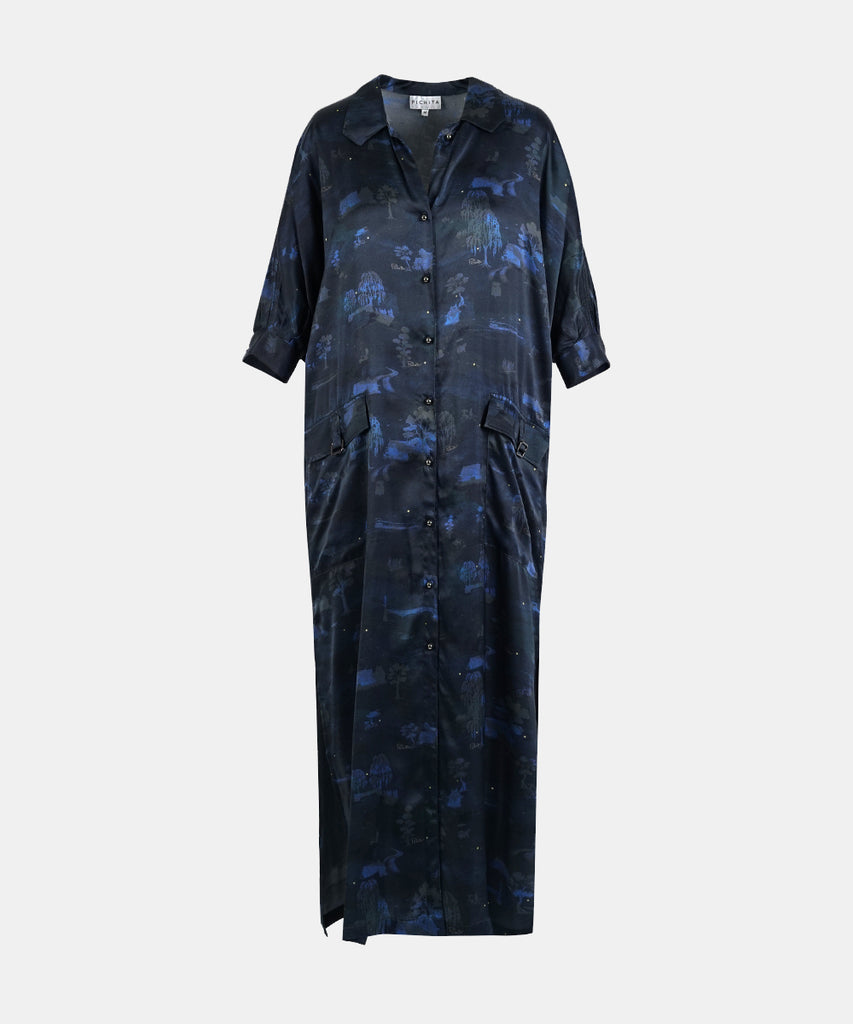 Printed Ghost-town Silk Shirt Dress