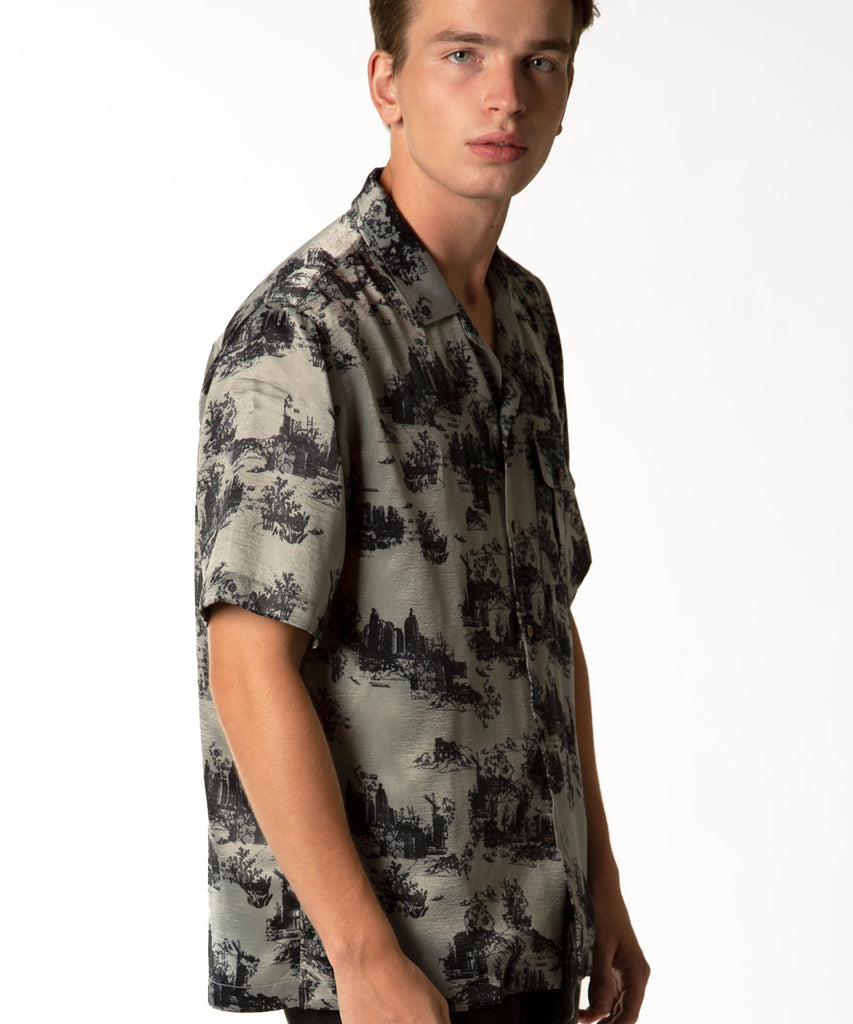 Short Sleeve Button-up Crepe Shirt