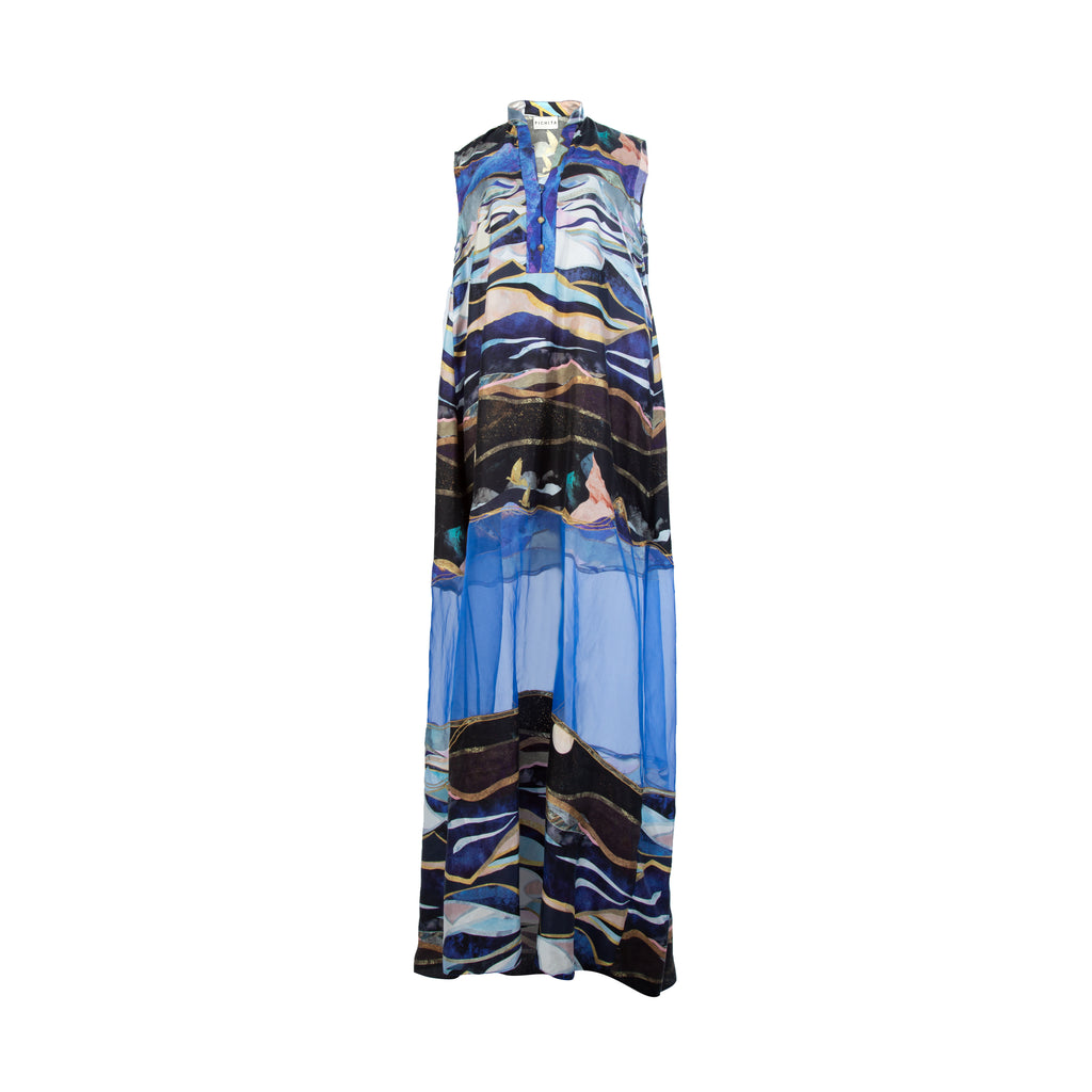 Two world A line sheer maxi dress