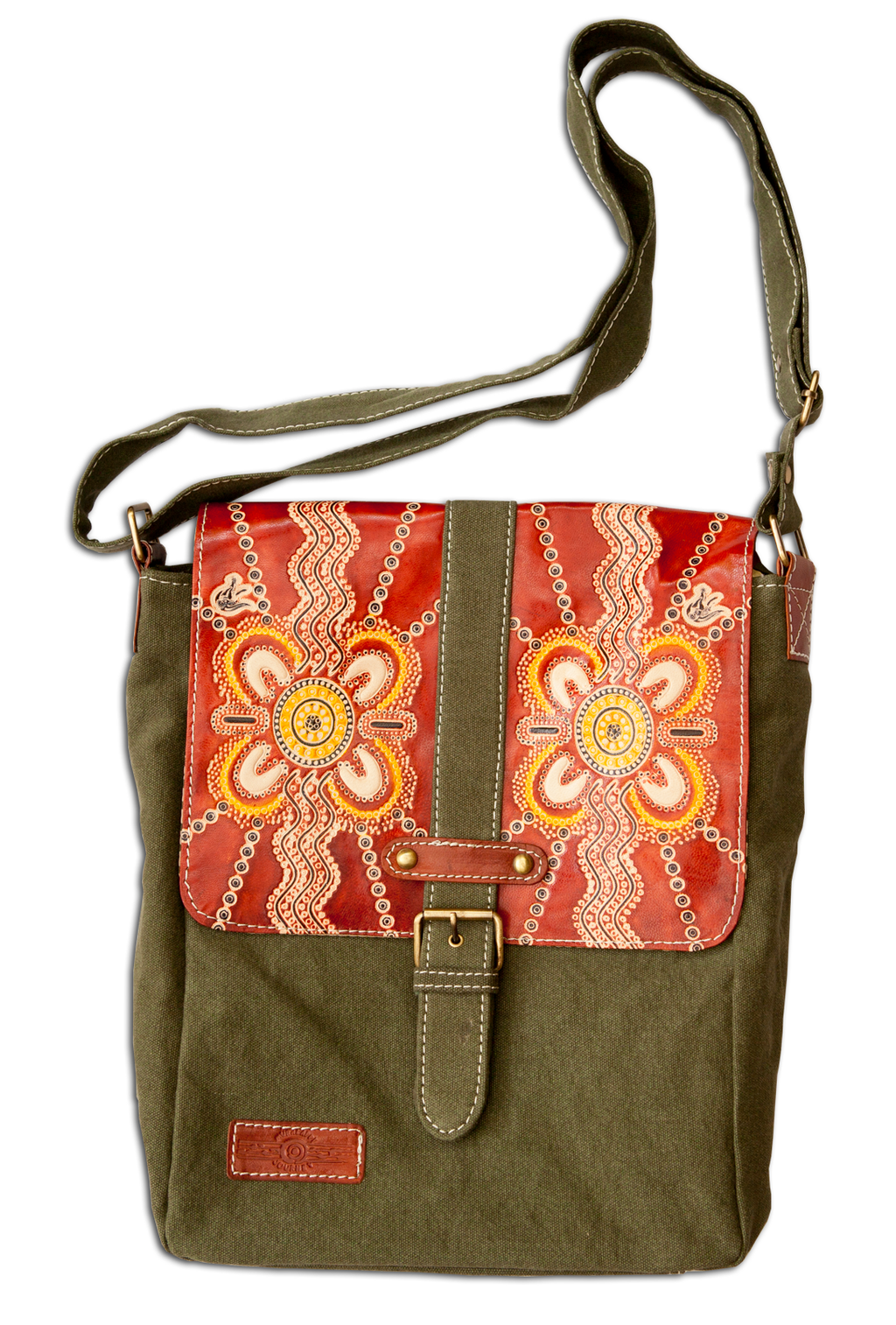 Aboriginal Leather & Canvas Cross Body Bag