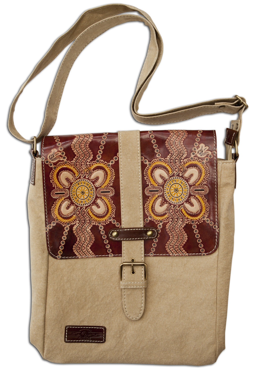 Leather & Canvas Cross Body Bag with Aboriginal Artwork