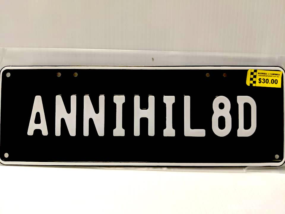 Annihilated Number Plate