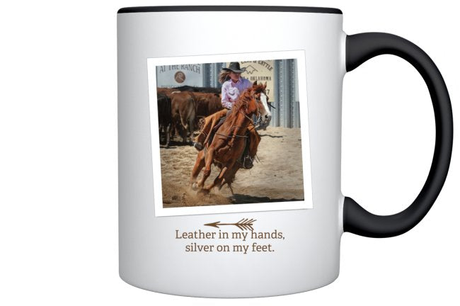 Leather in my hands, silver under my feet mug