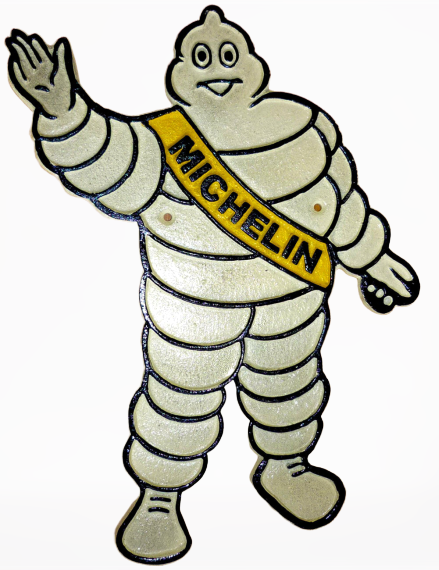 Michelin Man Cutout Waving Cast Iron Sign