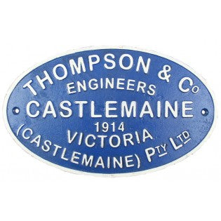 Railway Plaques - Thompson & Co Castlemaine Engineers