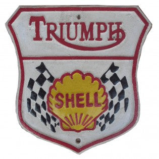 Triumph Shell Cast Iron Sign