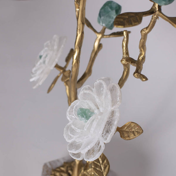 Marble and Brass Flowers With Branches (set of 2)
