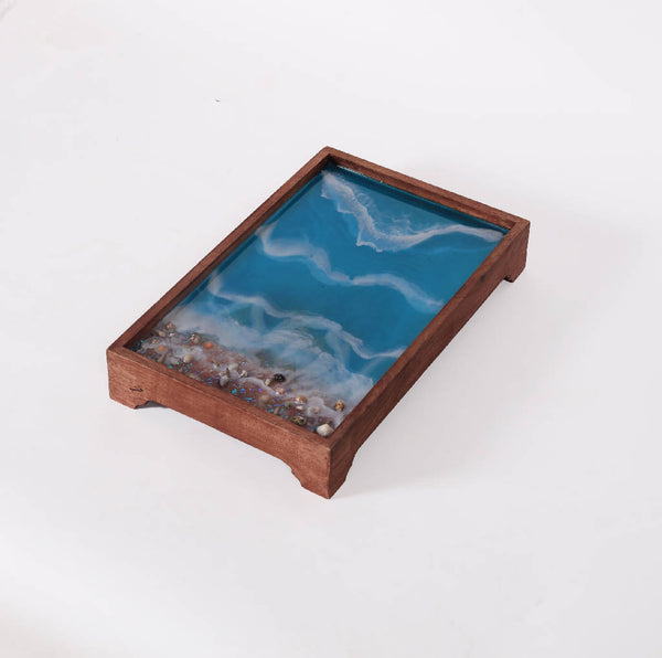 Rectangular Tray with Stone - Ocean