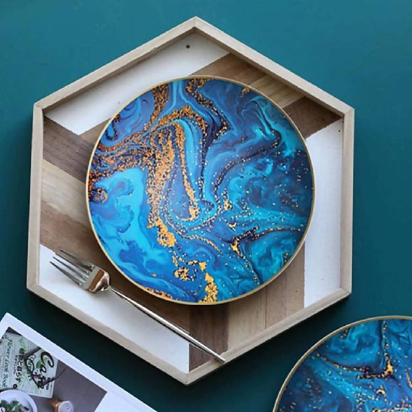 Blue Marbleized Dishes (2 Sizes)