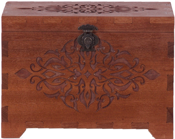 Brown Wooden Box with Carving