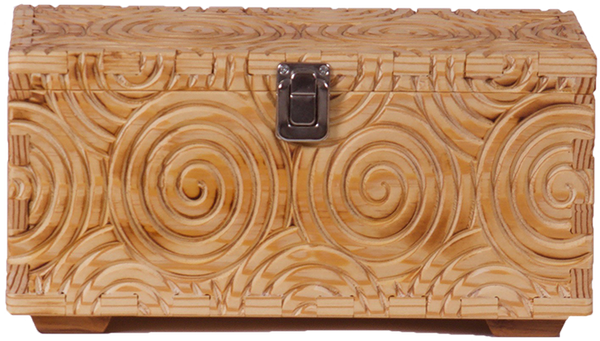 Beige Wooden Box with Spiral Carving