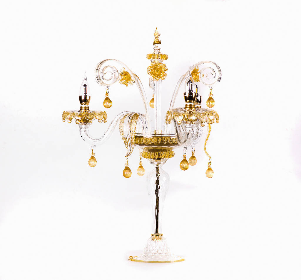 Table Lamp Murano Glass (Transparent/Gold)