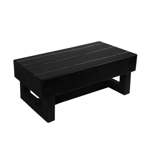 Black Coffee Table With White Epoxy