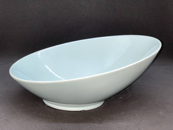 Serving Dish with Brass Leaf - Light Blue