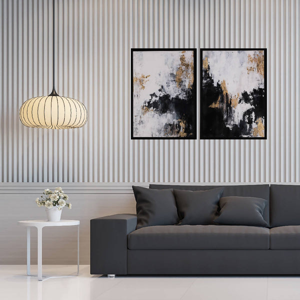 Abstract Acrylic on Canvas - Black/Gold (2 pcs.)