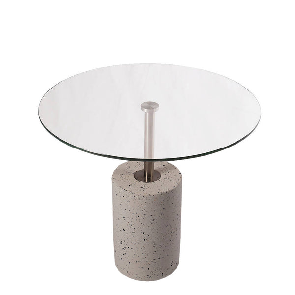 Clear Glass Round Terrazzo Table - Tall