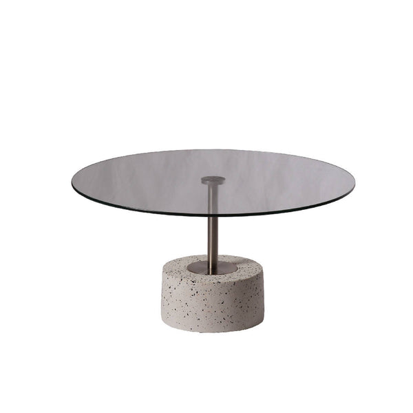 Clear Glass Round Terrazzo Table - Wide