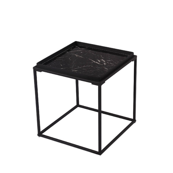 Kang Side Table - Black Glass Marble with Black Frame
