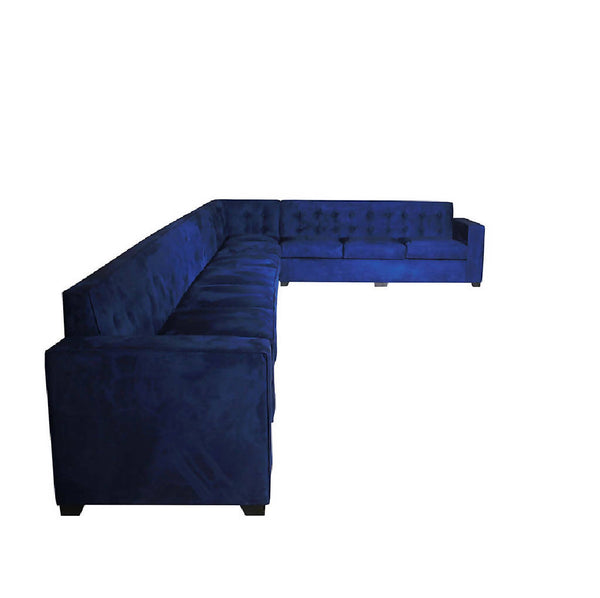 "Modern ""L"" shape Sofa - Dark Blue Velvet (Customized)"