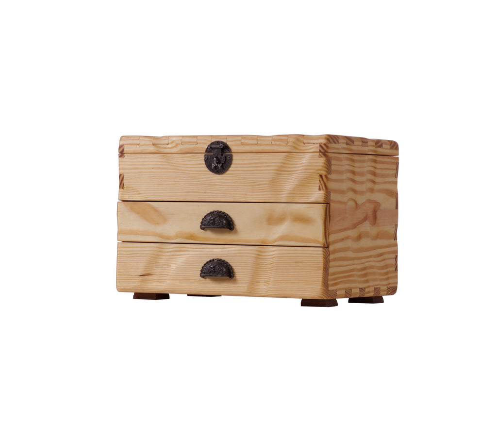 Beige Wooden Box - With Two Drawers