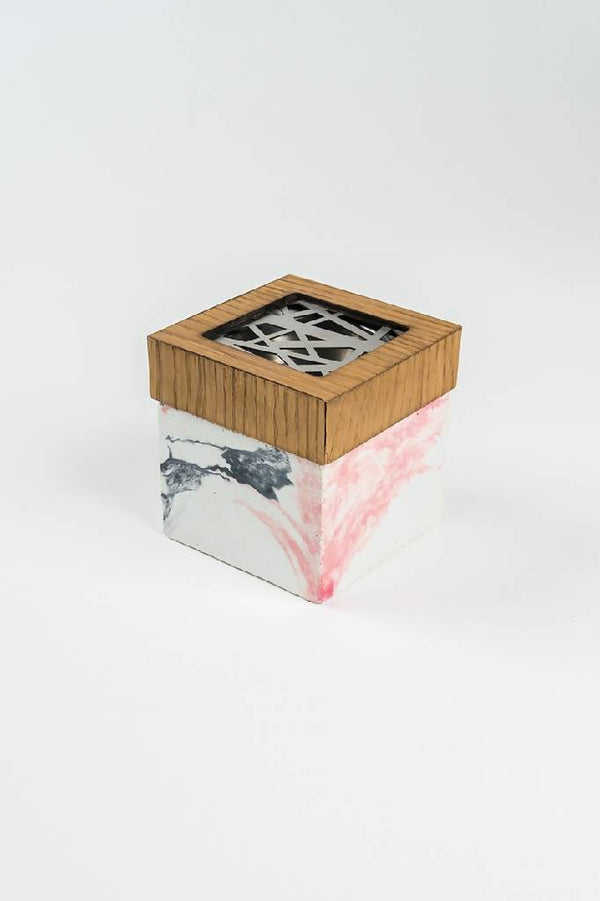 Marbleized Pink mubkhar with stripped steel cover